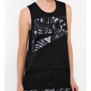 Nike Floro Tank Black Graphic Logo Mesh Medium